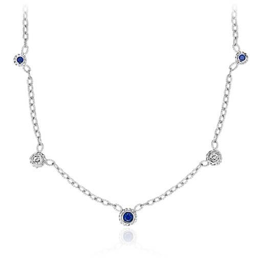 Sapphire and Diamond Bezel Necklace 14k White Gold