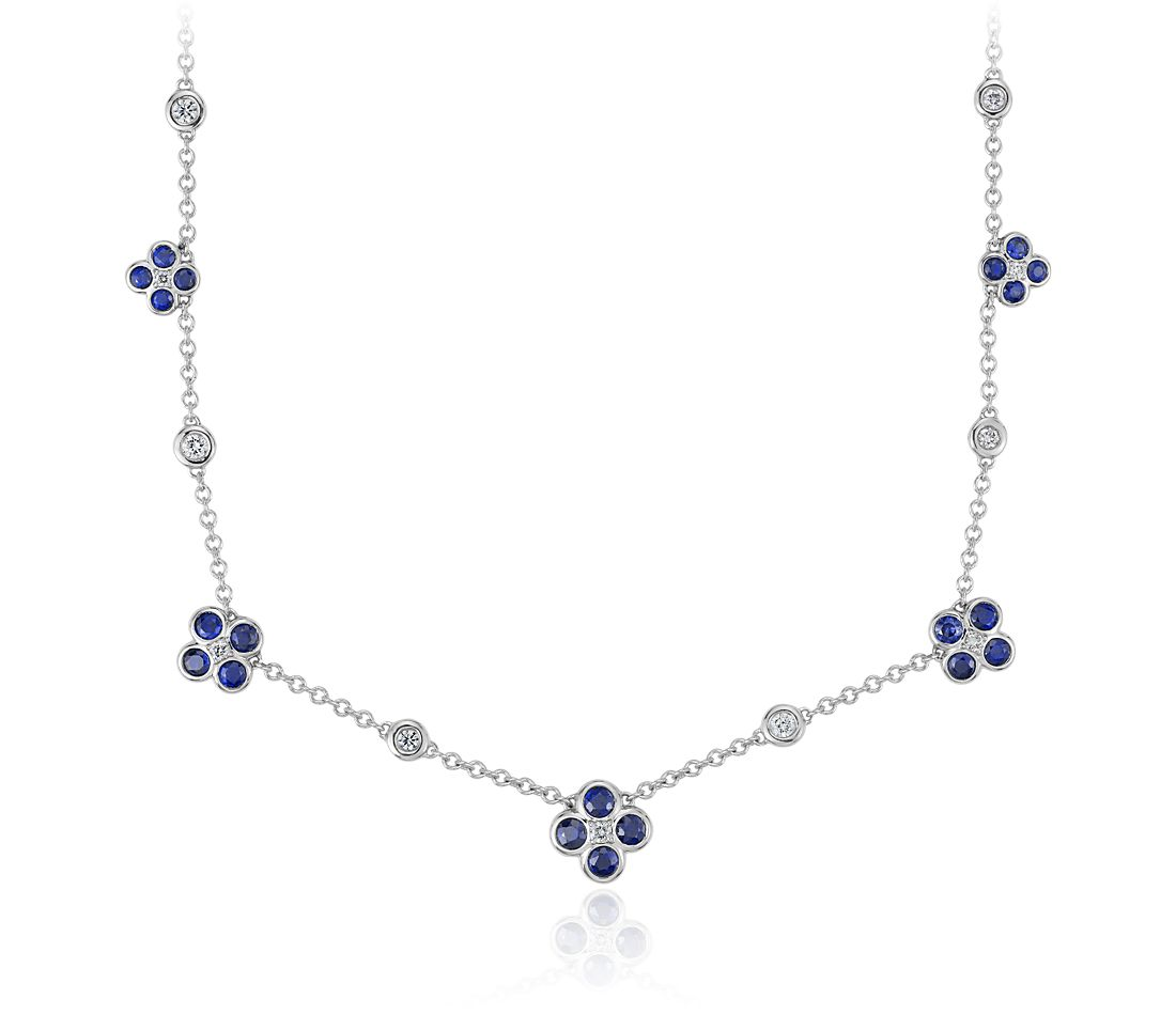 Blue Nile Studio Something Blue, Sapphire & Diamond Floral Necklace in 18k White Gold