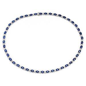NUEVO. Collar llamativo de diamantes y zafiros, en oro blanco de 18 k (33,1 qt. total)
