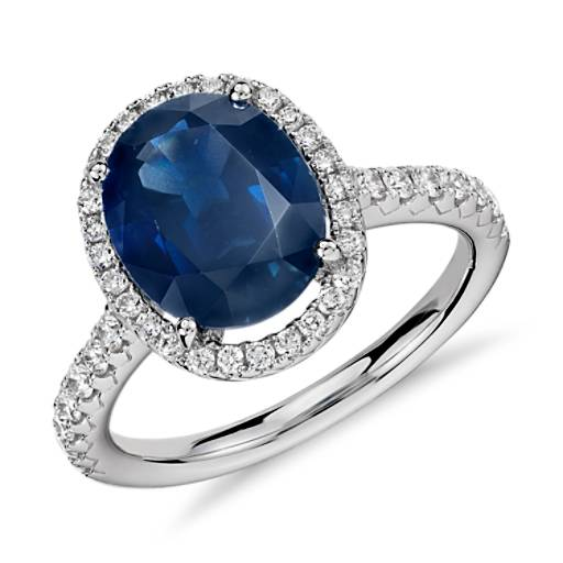 Oval Sapphire and Diamond Micropavé Ring in 18k White Gold (10x8)
