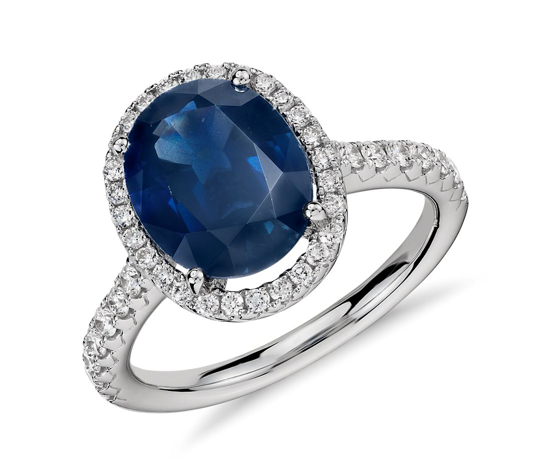 Sapphire and Diamond Oval Micropave Ring in 18k White Gold (10x8)