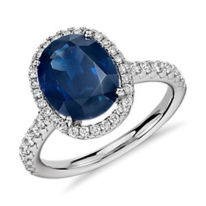Oval Sapphire and Diamond Micropavé Ring in 18k White Gold (10x8mm)