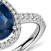 Sapphire and Diamond Oval Micropavé Ring in 18k White Gold (10x8)