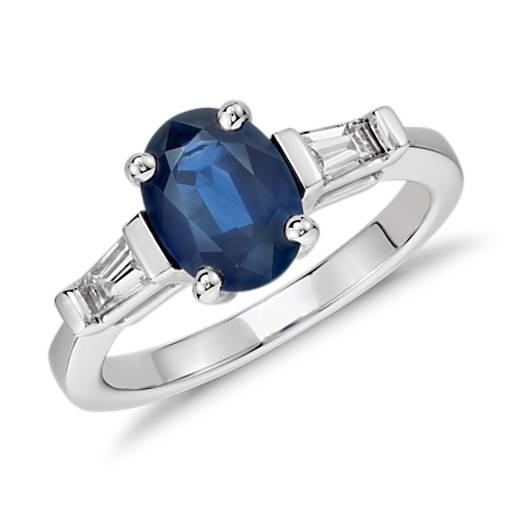 Oval Sapphire and Baquette Diamond Ring in 14k White Gold (8x6)