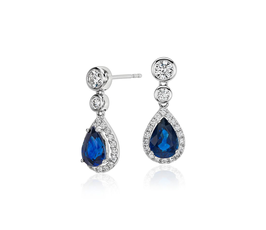 Sapphire and Diamond Pear Dangle Earrings in 18k White Gold (7x5)