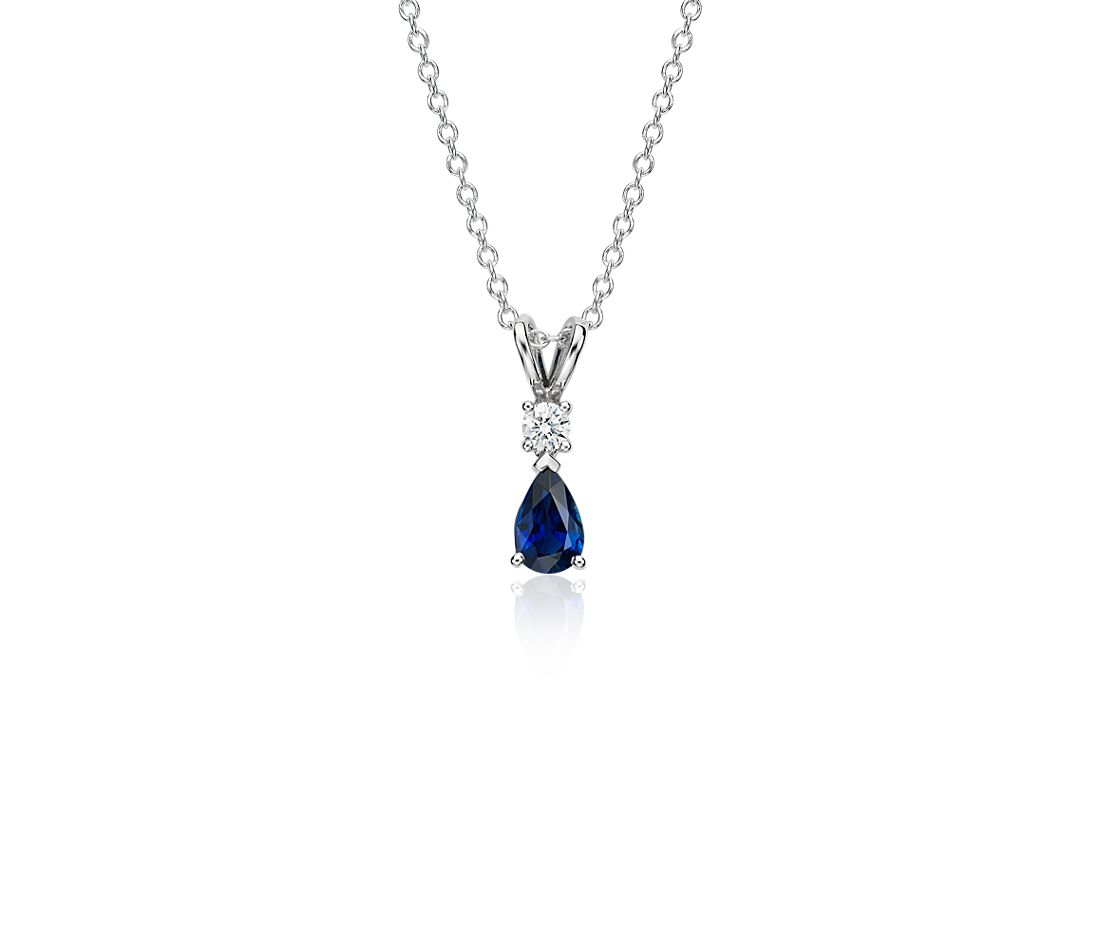 Pear-Shape Sapphire and Diamond Pendant in 18k White Gold (6x4 mm)