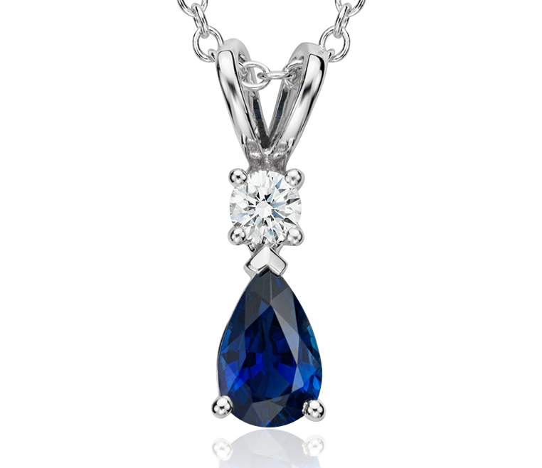 Pear-Shape Sapphire and Diamond Pendant in 18k White Gold (6x4mm)