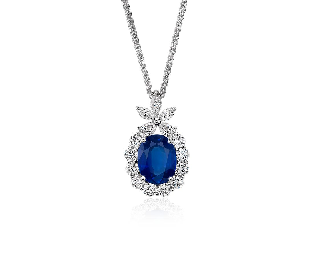 Oval Sapphire and Diamond Pendant in 18k White Gold