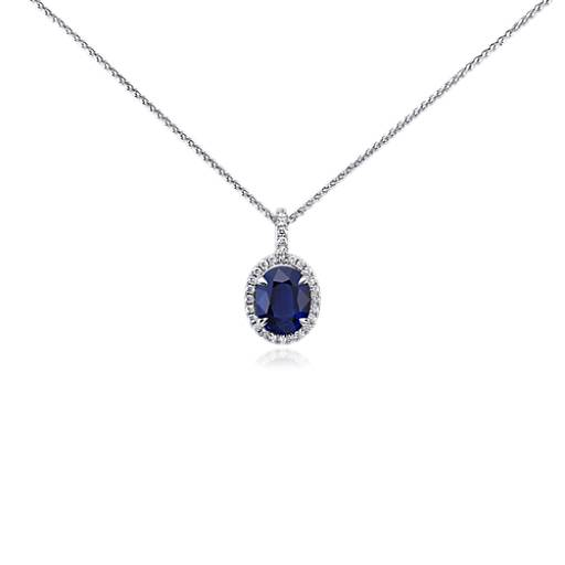 Sapphire and Micropavé Diamond Pendant in 18k White Gold (9x7 mm)