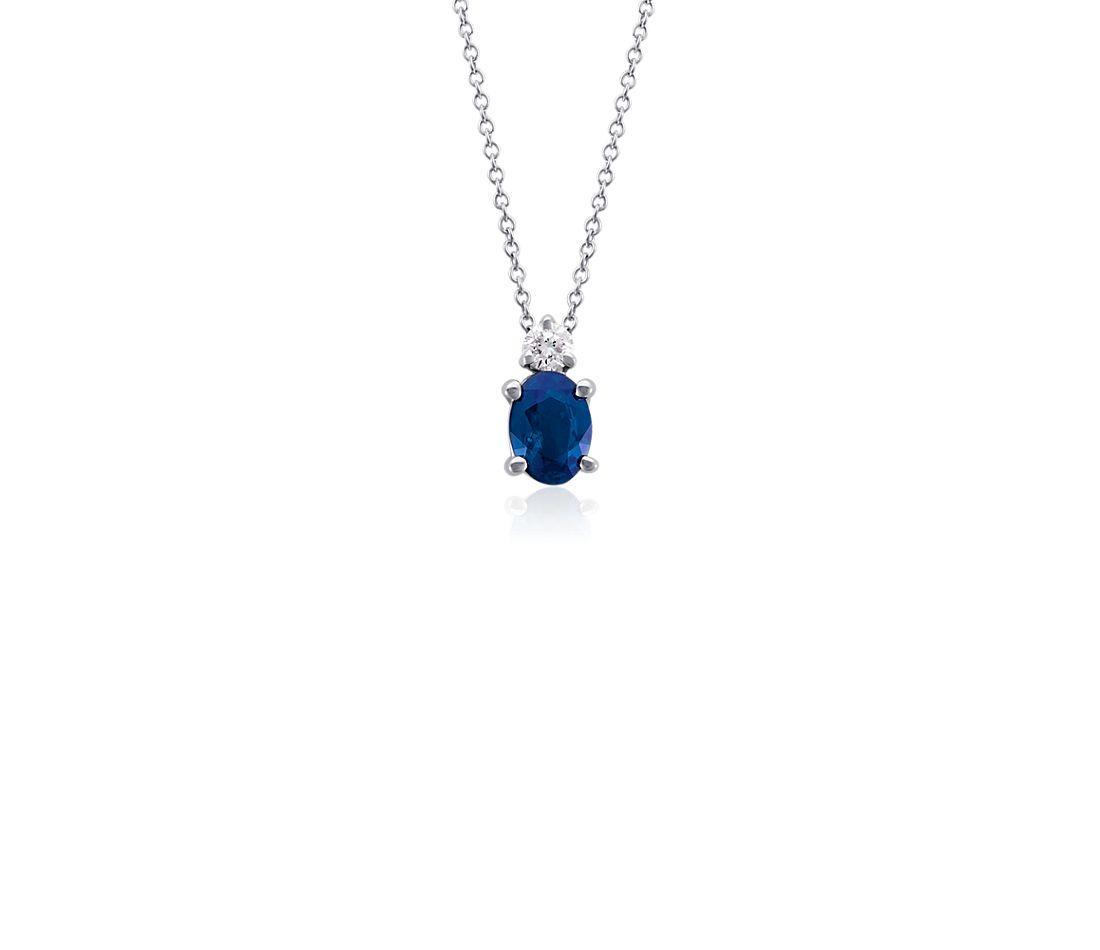 Pendentif diamant et saphir bleu ovale en or blanc 18carats (7x5mm)