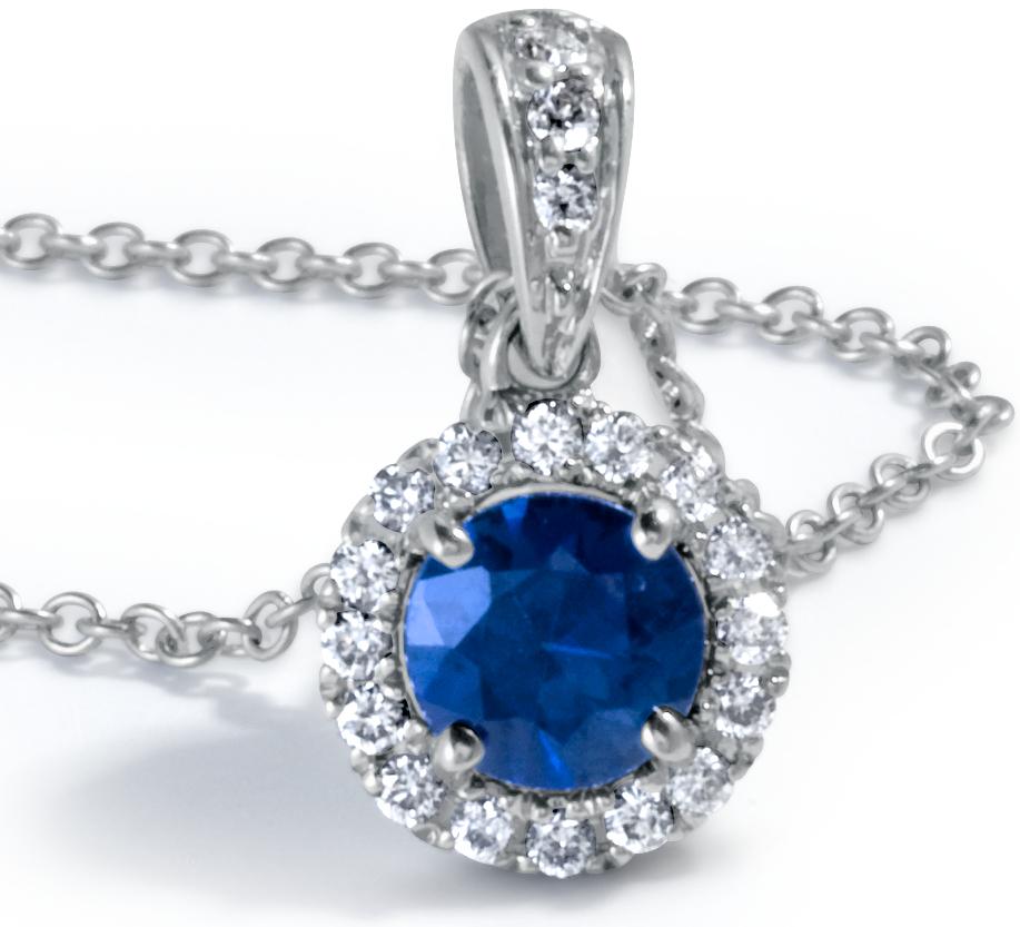 Pendentif diamants sertis micro-pavé et saphir bleu en or blanc 18carats (5mm)