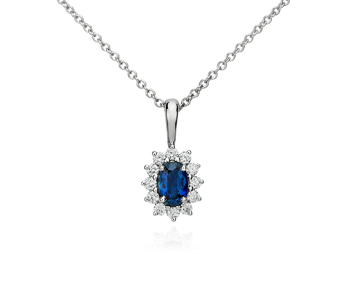 Sapphire and Diamond Pendant in 18k White Gold (6x4mm)