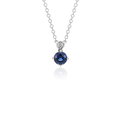 Sapphire and Diamond Round Pendant in 14k White Gold (6mm)