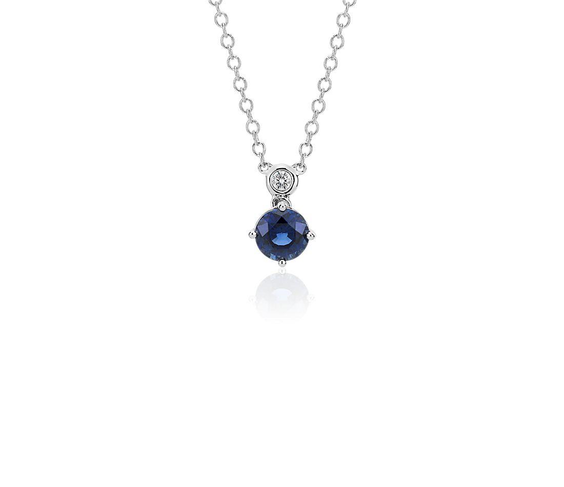 Pendentif diamant rond et saphir bleu en or blanc 14carats (6mm)