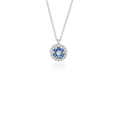 Petite Sapphire and Diamond Floral Pendant in 14k White Gold (1.5mm)