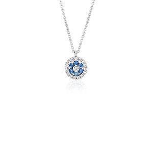 Colgante pequeño de diamante y zafiro con motivo floral en oro blanco de 14 k (1,5mm)