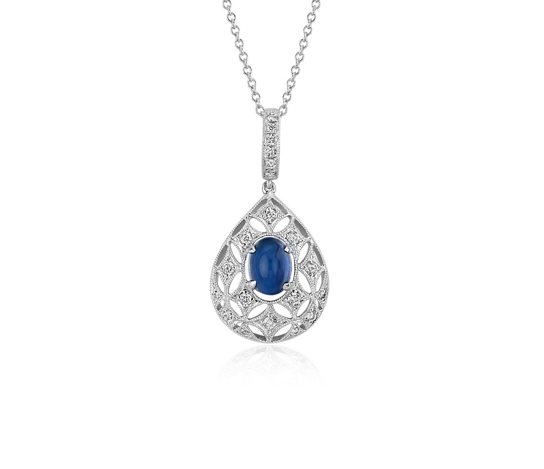 Sapphire Cabochon and Diamond Drop Pendant in 18k White Gold