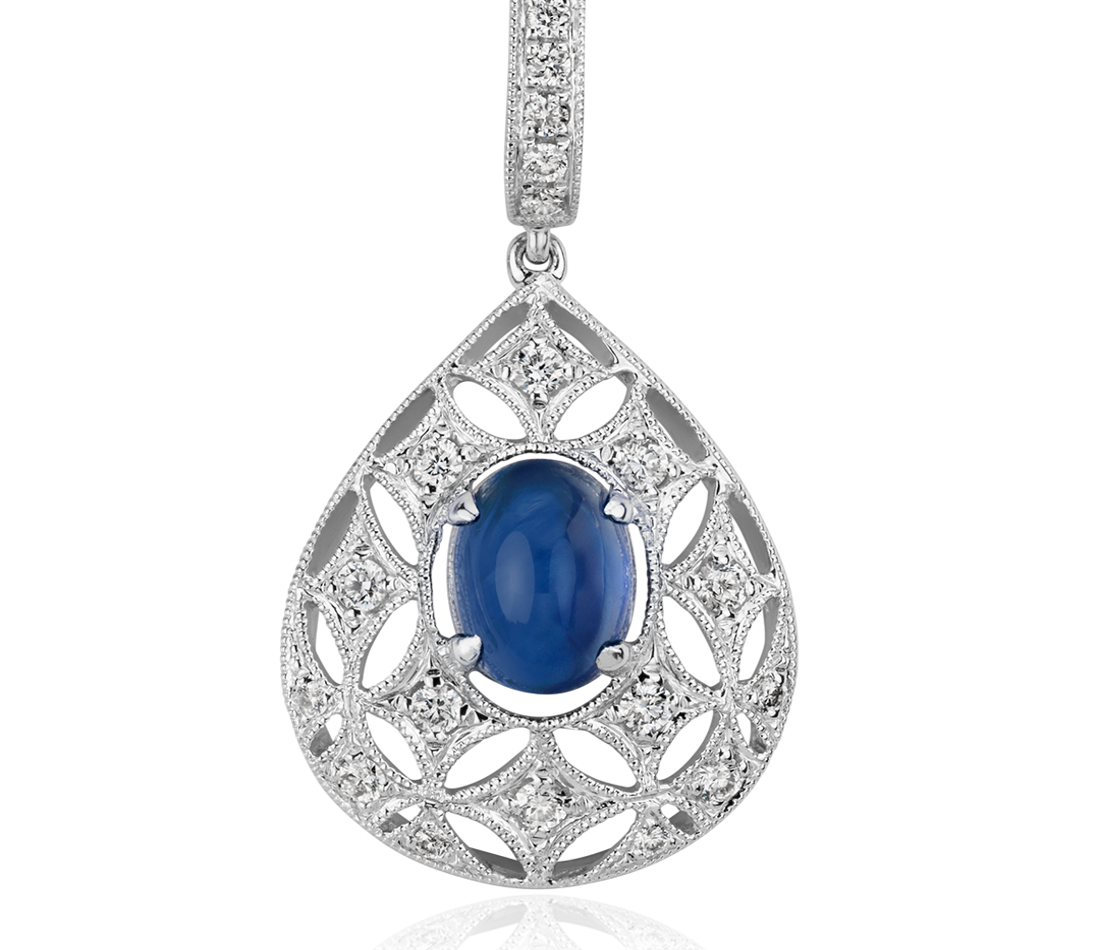 Colgante en forma de gota con cabujón de zafiro y diamante en oro blanco de 18k