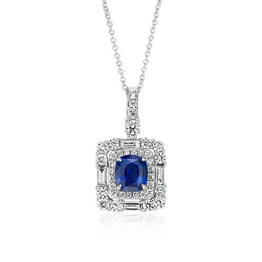 Cushion Cut Sapphire and Diamond Halo Pendant in 18k White Gold