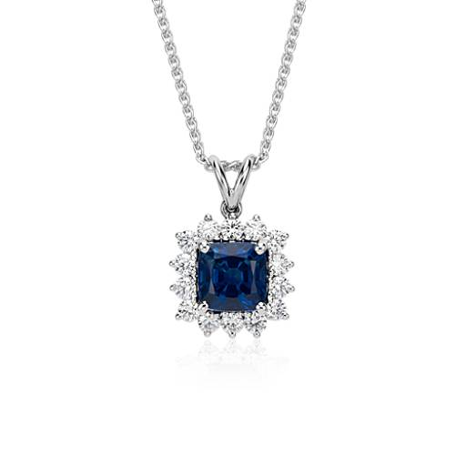 Cushion Cut Sapphire and Diamond Drop Pendant in 18k White Gold (3.06 ct. center)