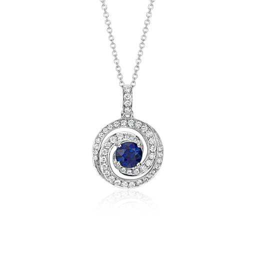 Blue Sapphire and Diamond Swirl Pendant 18k White Gold