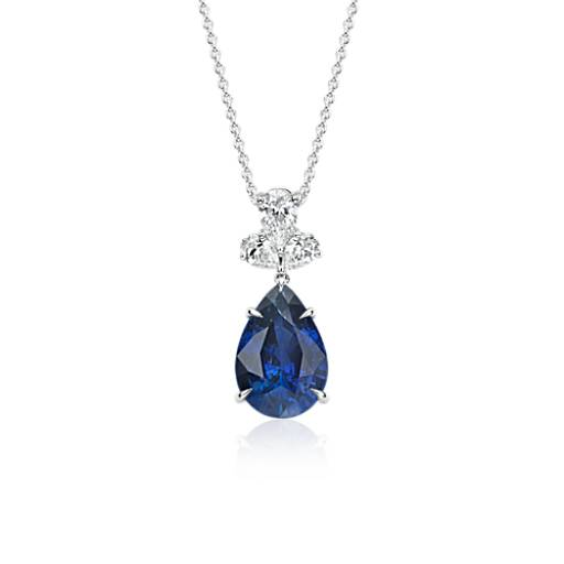 NEW Pear Sapphire Triomphe  Diamond Drop Pendant in 18k White Gold (4.64 ct. center)