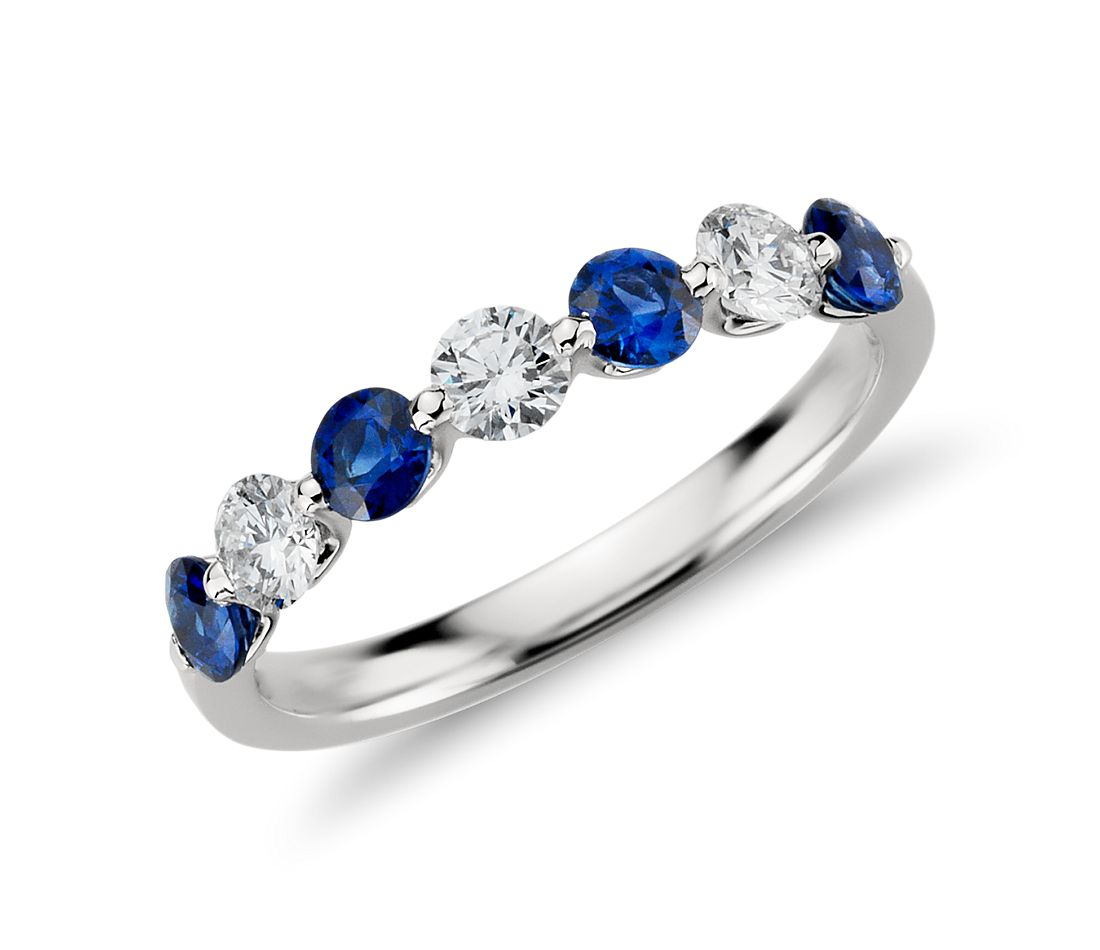 Classic Floating Sapphire and Diamond Ring in Platinum 3 8 ct tw