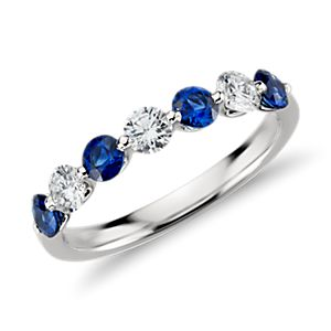 Classic Floating Sapphire and Diamond Ring in Platinum