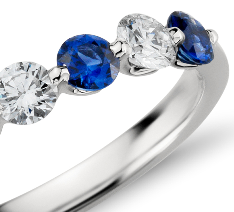 Classic Floating Sapphire and Diamond Ring in Platinum (3/8 ct. tw.)