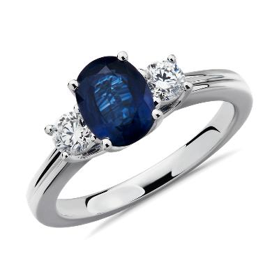 18k 白金藍寶石鑽石戒指( 8x6毫米)