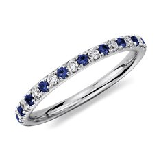 Pavé Sapphire and Diamond Ring in 14K White Gold