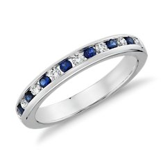Bague diamant et saphir bleu serti barrette en Or blanc 18 ct (0.18 ct. tw.)
