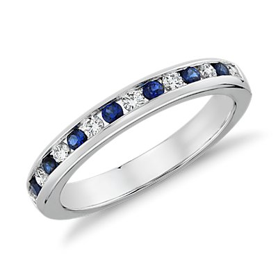 Channel Set Sapphire and Diamond Ring in 18k White Gold (0.18 ct. tw.)