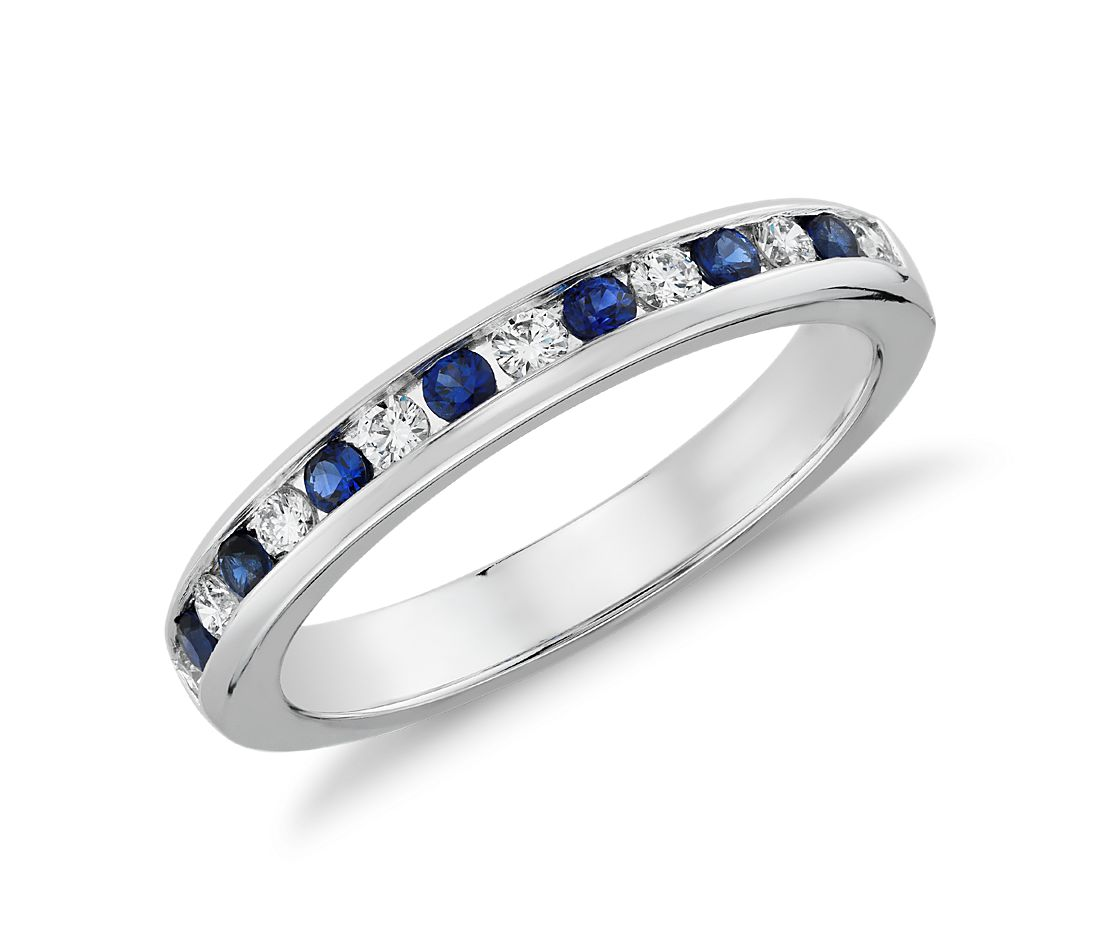 Channel Set Sapphire And Diamond Ring In 18k White Gold (0