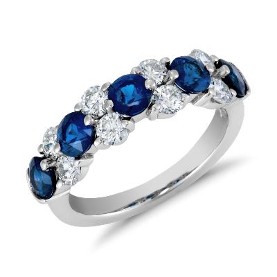 Bague guirlande saphir bleu et diamant Classic en platine (7/8carats, poids total)