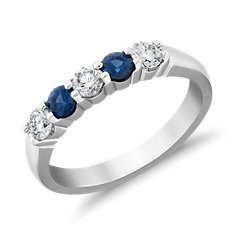 Bella Sapphire and Diamond Five Stone Ring in 18k White Gold (1/3 ct. tw.)