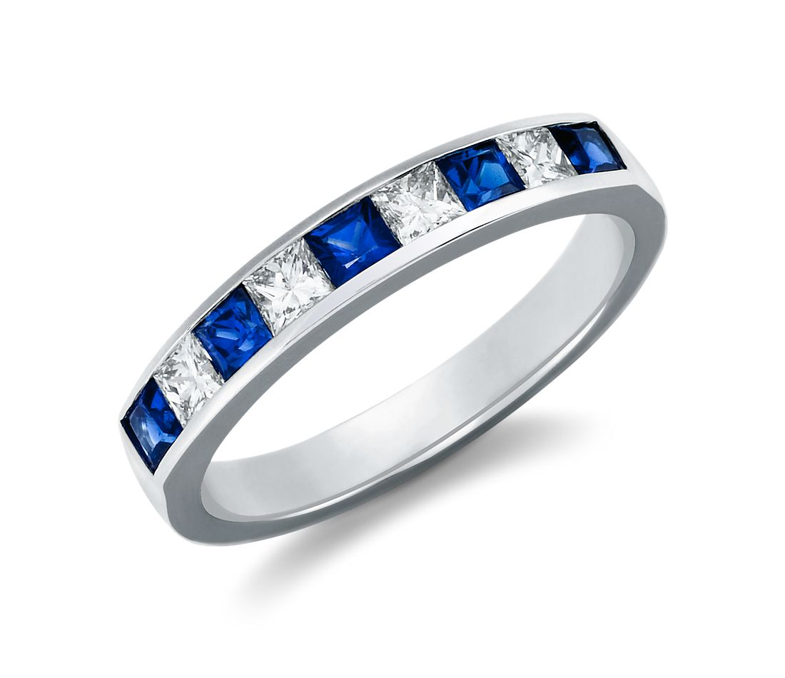 Princess Cut Sapphire and Diamond Ring in Platinum (1/3 ct. tw.)