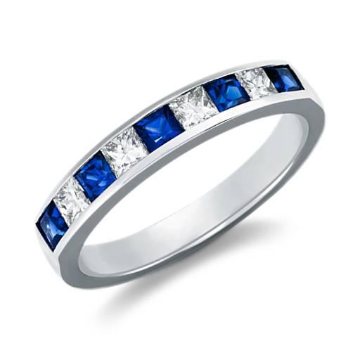 Bague diamant et saphir taille princesse en platine (1/3carat, poids total)