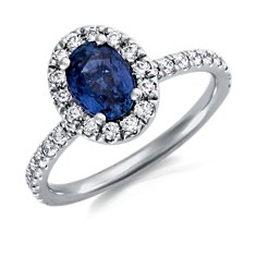 Bague diamants sertis pavé et saphir bleu en Or blanc 18 ct (7x5mm)