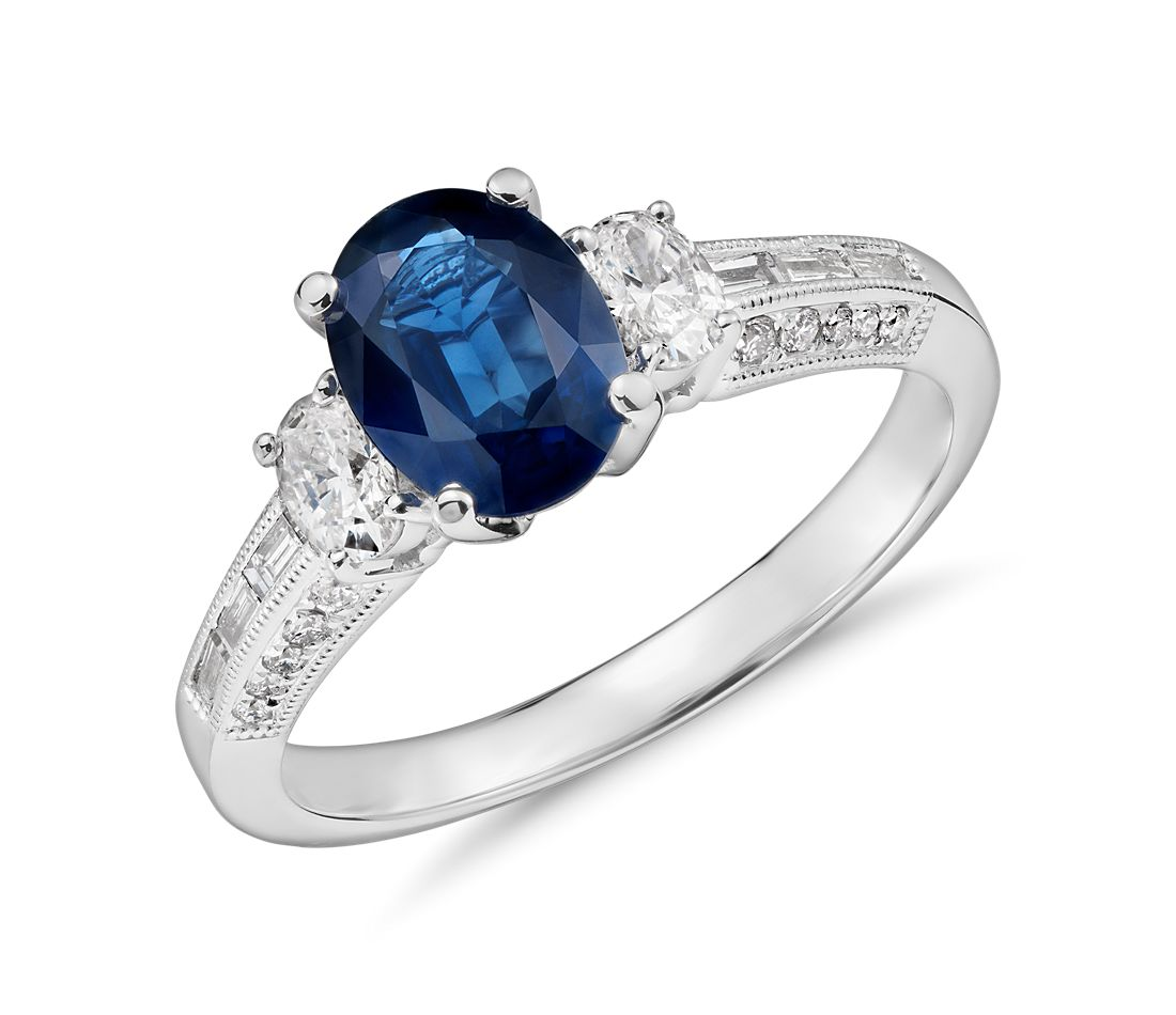Sapphire Oval Three Stone Ring in 18k White Gold (8x6)