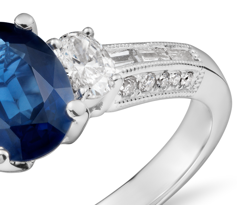 Sapphire Oval Three Stone Ring in 18k White Gold (8x6mm)