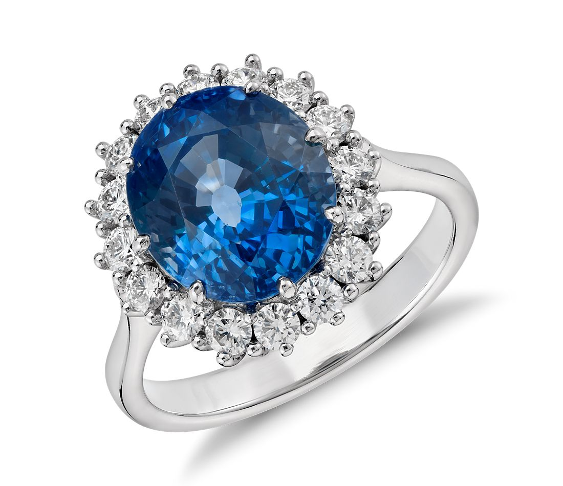 Oval Sapphire and Diamond Cluster Ring in 18k White Gold (6.39 ct center)