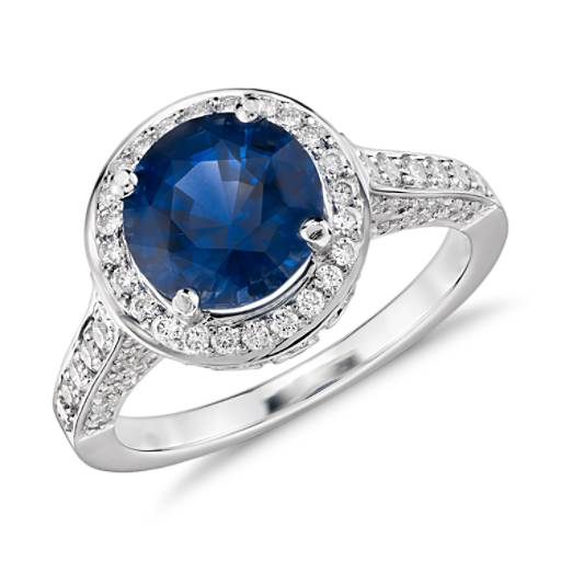 Sapphire and Diamond Halo Ring in 18k White Gold (8.0mm)