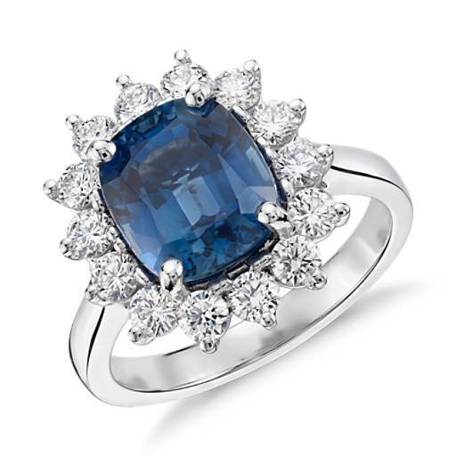 Sapphire and Diamond Ring in 18k White Gold (4.02 ct. center) (9.3x8mm)
