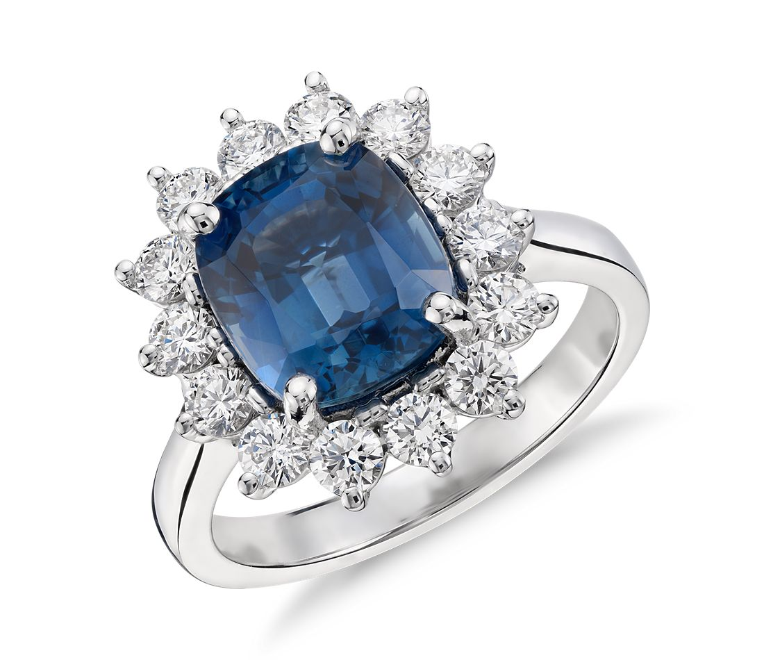 sapphire and ring in 18k white gold 4 02 ct