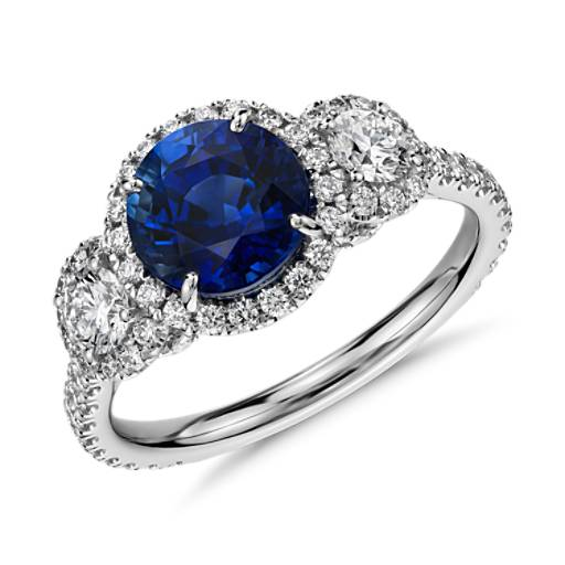 Sapphire and Diamond Halo Three-Stone Ring in 18k White Gold  (2 ct center) (7.2mm)