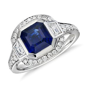 Emerald-Cut Sapphire and Diamond Ring in 18k White Gold (2.62 ct. tw. center)