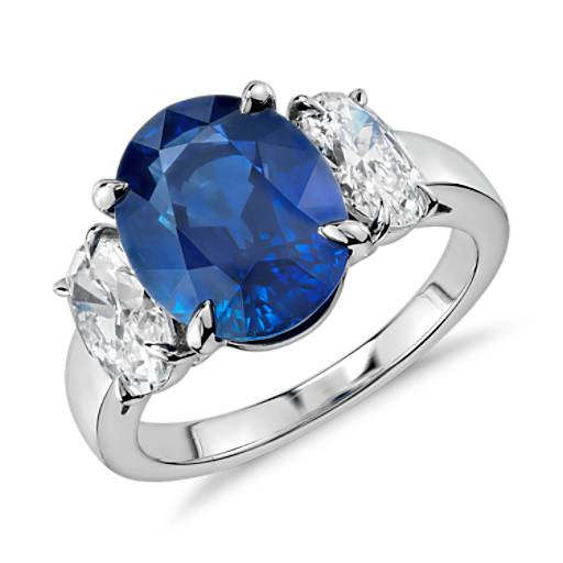 Oval Sapphire and Diamond Three-Stone Ring in Platinum (5.01 ct center)