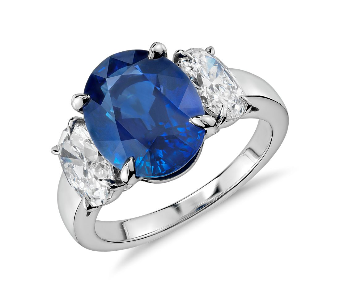 Oval Sapphire and Diamond Three-Stone Ring in Platinum (5 ...