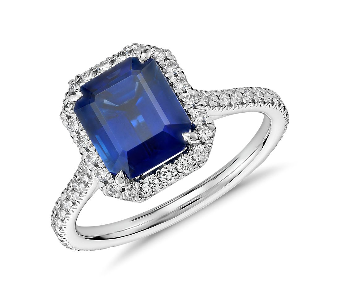 Emerald Cut Sapphire and Diamond Halo Ring in 18k White Gold (3.16 ct center)